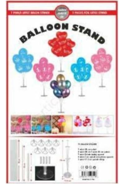 Genç Dijital Baskı Şeffaf Doğum Günü Ayaklı Balon Süsleme Standı ve 7'li Balon