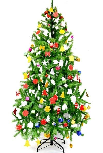 Genç Dijital Baskı Çam Ağacı 180 cm 620 Dal 84 Parça Süs-10 Metre Işıklı