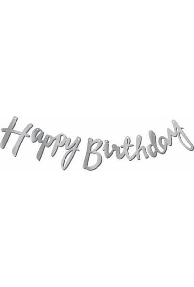 Parti Furyası Kaligrafi Banner Gümüş Happy Birthday