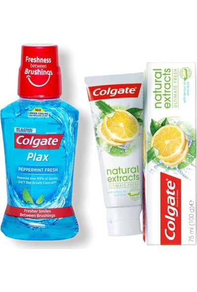 Colgate Plax Ağız Bakım Suyu 250ML + Colgate Natural Extracts Diş Macunu 75ML