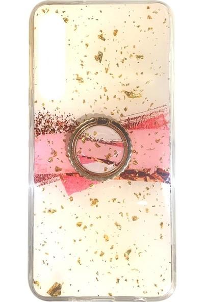 Zümrah Huawei P30 Mermer Desenli Simli Yüzüklü Silikon Kılıf Koruma Kapak