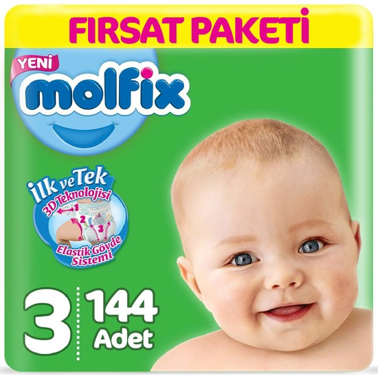 Molfix Bebek Bezi 3 Beden Fırsat Paketi 4-9 kg (2*72) 144 Lü