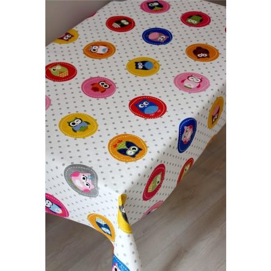 Dede Ev Tekstil Elyaf Astarlı Baykuş Desen Silinebilir Pvc Muşamba Masa Örtüsü 6103-001