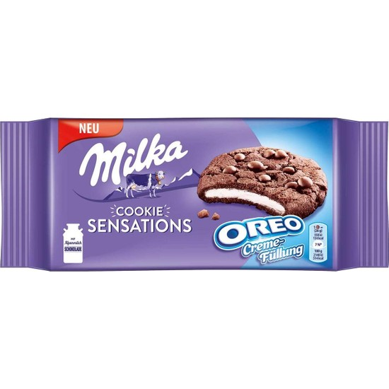 Milka Cookie Sensations Oreo Creme Çikolata Parçalı Bisküvi 156 gr