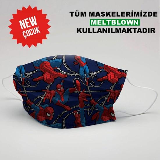 3nnn Spiderman Desen Yıkanabilir Çocuk Maske (5 Adet)