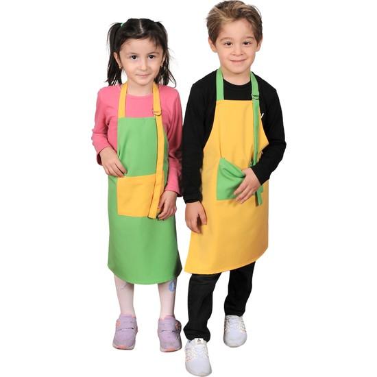 Mandalin Consept Çocuk Mutfak Önlüğü Yeşil Sarı 2li Takım