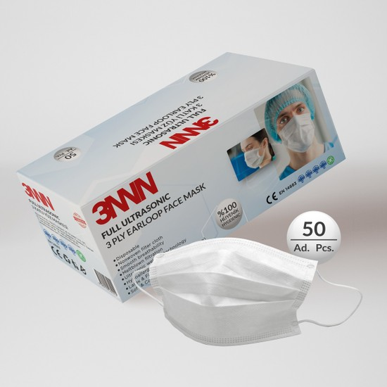 3nnn Beyaz Full Ultrasonic Telli Maske 50 Adet