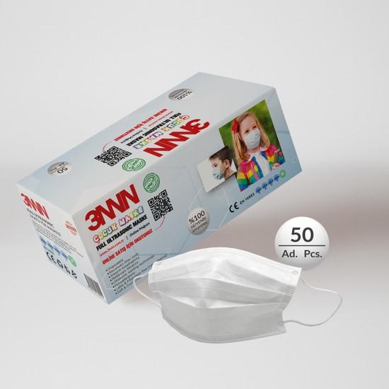 3nnn Beyaz Full Ultrasonic Telli Çocuk Maske 50 Adet