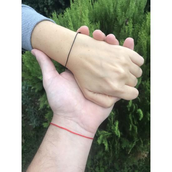 Arda Aksesuar Red String Kırmızı Siyah İp Çift Bileklik