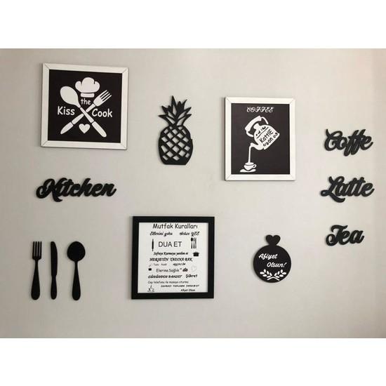 Alınteri Çerçeveli Ahşap Mutfak Kuralları Dekor Tablo Seti ve Mutfak Tablo Seti