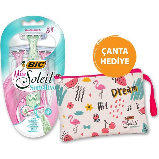 Bic Miss Soleil Sensitive Kadın Tıraş Bıçağı 3'lü Blister Çanta Hediyeli