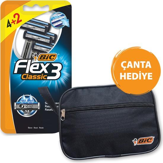 Bic Flex 3 Tıraş Bıçağı 4+2'li Blister Çanta Hediyeli