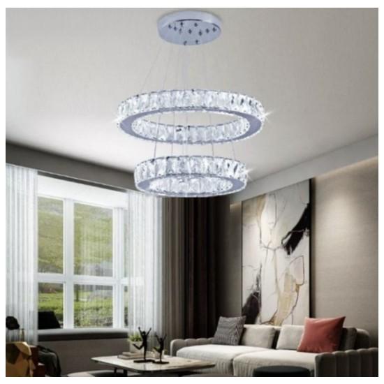 Burenze Burenzeluxury Modern Sarkıt Kristal Taşlı LED Avize Kumandalı 3 Renk BURENZE602