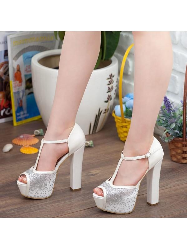 Adım Adım Sedef Platform Topuk Dolgu Taban Abiye Gelin Kadın Ayakkabı A192YSML0024