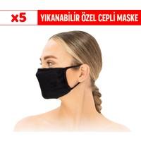 Superior Masqe 2 Katlı Cepli Yıkanabilir Antibakteriyel Maske 5 Adet Siyah