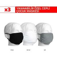Superior Masqe 2 Katlı Cepli Yıkanabilir Antibakteriyel Çocuk Maskesi Erkek 3 Adet 8-14 Yaş Siyah Beyaz Gri