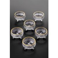 Queen's Kitchen 6 Adet Yaldızlı Kristal Cam 3 Ayaklı Lüx Lokumluk-Çerezlik