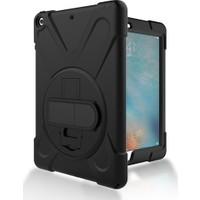 CepLab iPad 6 Air 2 Kılıf Ultra Koruma Zırh Askılı Tank Silikon Kılıf+Nano Esnek Ekran Koruyucu Cam Siyah