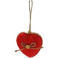 Met Çarşı 3'lü Jüt Kumaş Kaplı Kalp Cici Süs 8 cm