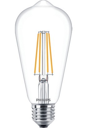 Philips LED Classic ST64 7W-60W 2700K Sarı Işık E27 Rustik Filament Ampul 3 Adet