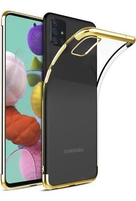 SmartBerry Samsung Galaxy A51 Kılıf Silikon Dört Köşe Lazer + Cam Ekran Koruyucu Altın