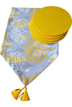 Dehaberkstore Sarılı Grili Mercan Desenli Runner +4 Adet Sarı Amerikan Servis Supla Seti
