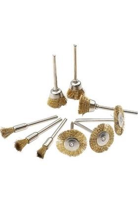Toolings Gravür Aletleri ve Matkap Için 9 Adet Mini Pirinç Tel Fırça Seti