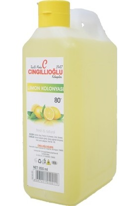 Cıngıllıoğlu Limon Kolonyası 80 Derece 850 ml