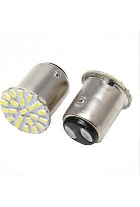 1157 22 LED Ampül Çift Duy LED Stop Sinyal Ampülü Çakarlı Beyaz