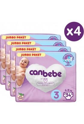 Canbebe Bebek Bezi Midi 3 Numara 136 Adet Jumbo Paket