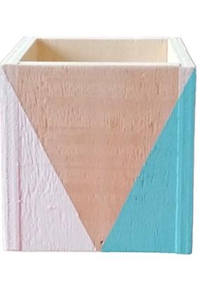 Aden Tasarım - Geometrik Desenli Ahşap Kare Kutu (Beyaz - Mavi)