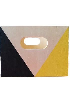 Aden Tasarım - Geometrik Desenli Ahşap Dikdörtgen Kutu (Siyah - Sarı)