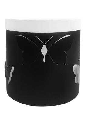Sever Siyah Beyaz Kelebekli Silindir Kutu 16cm