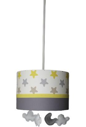 İnka Renkli Yıldız Pofidik Süslü Çocuk Odası Bebek Odası Avize