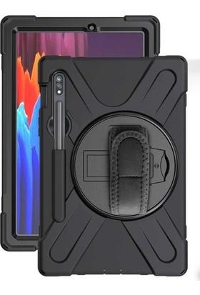 CepLab Samsung Galaxy Tab S7 Plus T970 Kılıf Ultra Koruma Zırh Askılı Tank Silikon Kılıf+Nano Esnek Ekran Koruyucu Cam Siyah