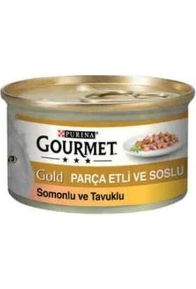 Gourmet Gold Parça Etli Somonlu ve Tavuklu 85GR