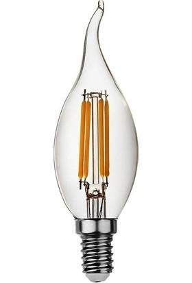 Heka ERD83 Kıvrık Mum Edison Flamanlı Rustik LED Ampul 6 Watt