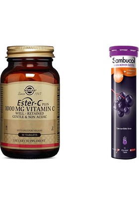Solgar Ester C - Plus 1000 Mg 30 Tablet + Sambucol 15 Efervesan
