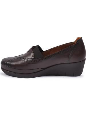 Pabucmarketi Kahve Kadın Deri Günlük Ayakkabı