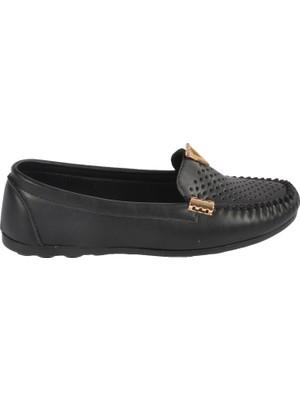 Pabucmarketi Siyah Baskılı Kadın Günlük Ayakkabı