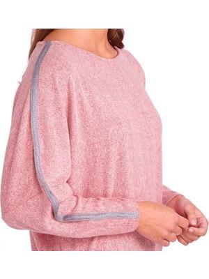 Kübra tekstil Kadın Pembe Kol Şerit Detaylı Yumuş Kumaş Bluz