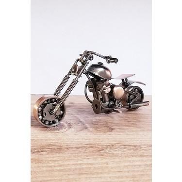 oyuncak filesi metal motosiklet maketi el yapimi dekoratif obje 16 cm