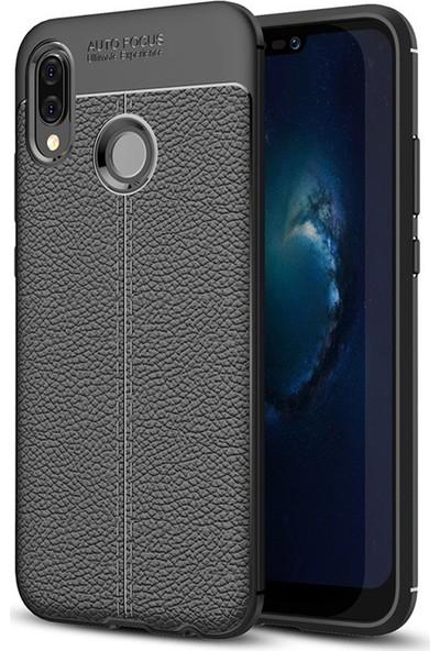 Huawei P20 Lite Kılıf Kamera Korumalı Deri Görünümlü Rugan Armor Tam Koruma Silikon Siyah