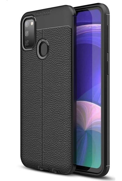 Samsung Galaxy M21 Kılıf + Ekran Koruyucu Kamera Korumalı Deri Görünümlü Rugan Armor Tam Koruma Silikon Siyah