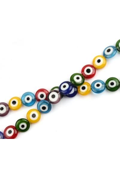 Hedef Bijuteri Karışık Renkli Yassı Cam Nazar Boncuğu Dizisi 6 mm
