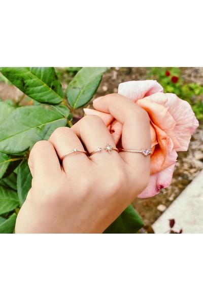Lotus Gümüş Üçlü Eklem Yüzüğü 925 Ayar Taşlı Ayarlanabilir Kadın Gümüş Yüzük