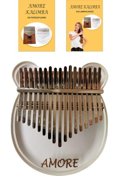 Amore Şeffaf 17 Tuşlu Pro Kalimba Parmak Piyano + 120 Kalimba Şarkı Nota Kitapçığı + Türkçe Kullanım Klavuzu Komple Set