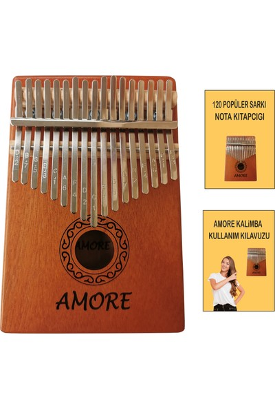Amore 17 Tuşlu Kalimba Pro Parmak Piyano + 120 Popüler Şarkı Notası + Türkçe Kullanım Klavuzu Komple Set