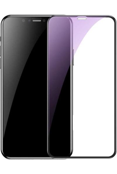 Baseus Apple iPhone XS Max 0.23 mm Kavisli- Ekran T-Glass Cr Edges Blue Ray Tam Ekran Koruyucu- Siyah SGAPIPH65-TE01