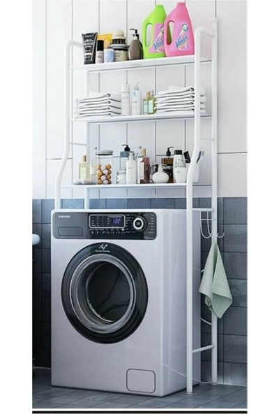 Movia Home Çamaşır Makinası Üstü 3 Raflı Banyo Dolabı